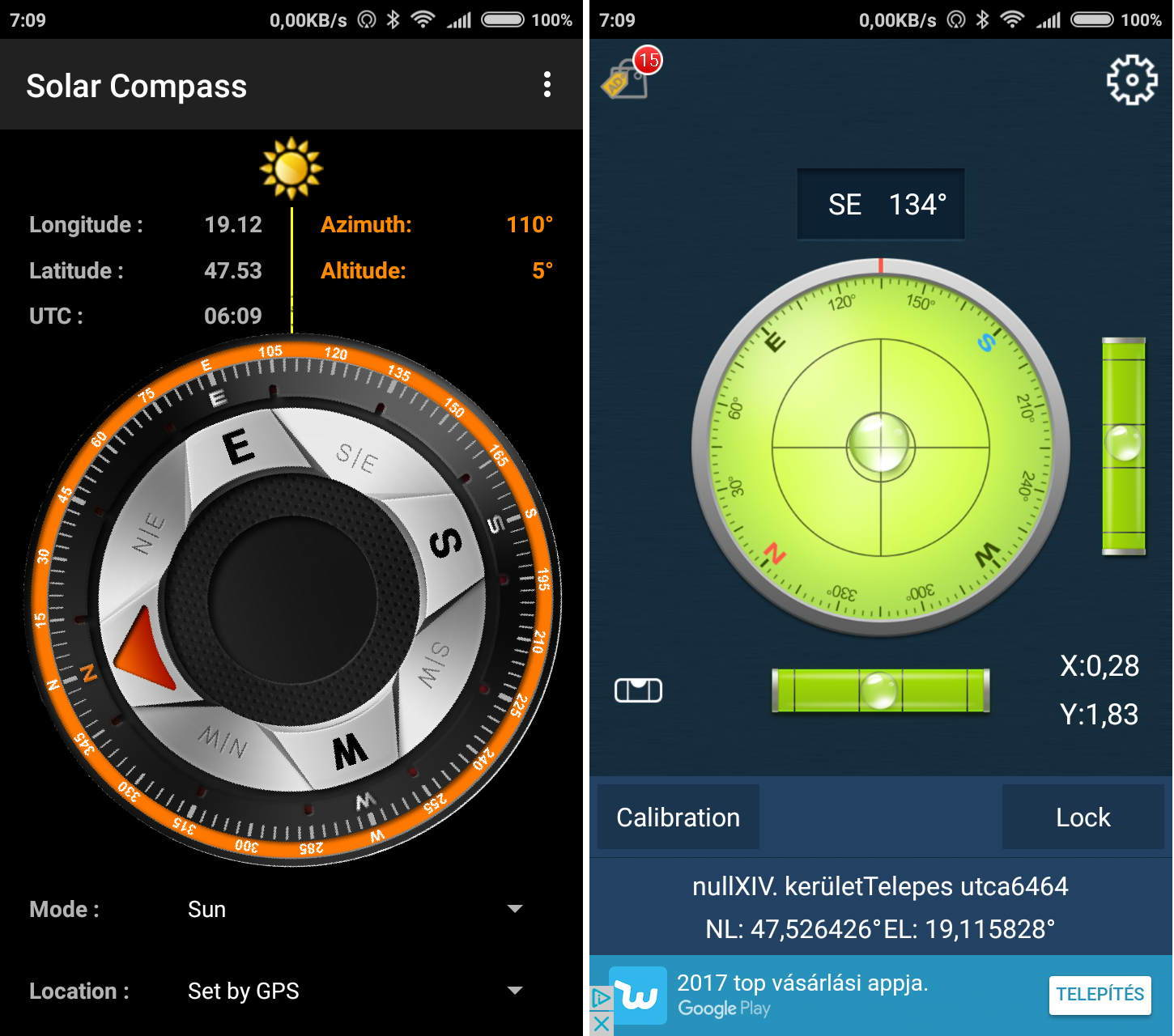 screenshot solarcompass compass